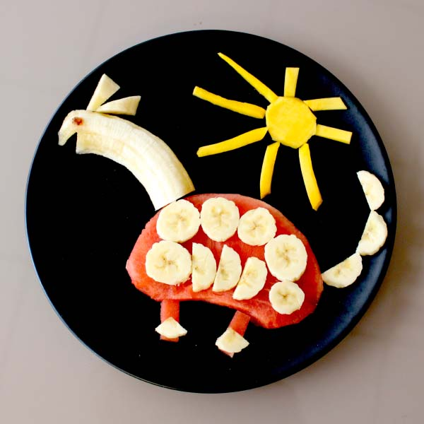 Food art dinosaur