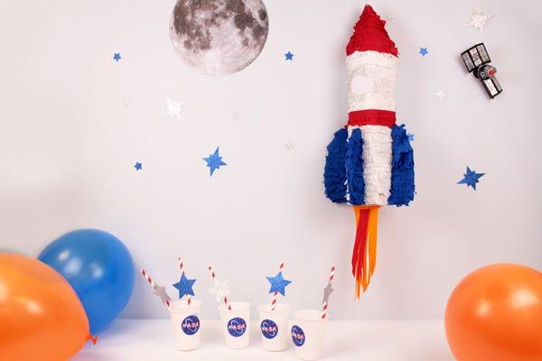 Space Rocket Birthday Piñata DIY
