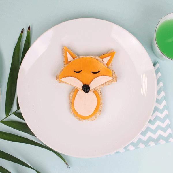 Turkey and Cheese Fox Sandwich Food Art