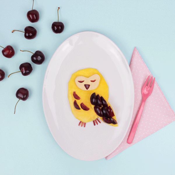Healthy Fruity Owl Desert Food Art