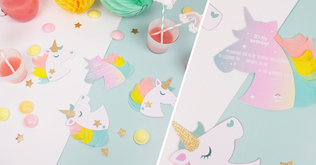 Unicorn Birthday Party Invitations Petit Fernand