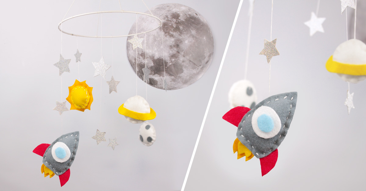 DIY Outer space mobile room decoration