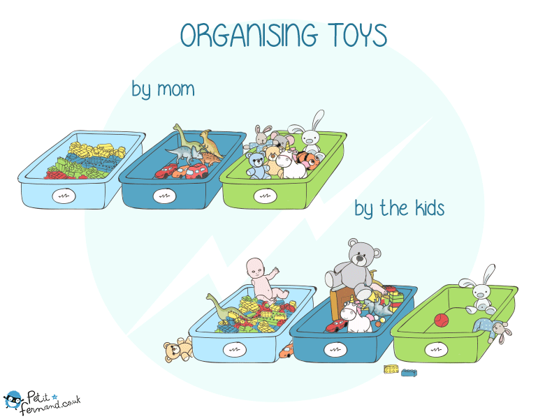 Parenting humour : tidying up the toys