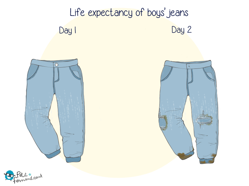 Your little one's new jeans won't last as long as planned