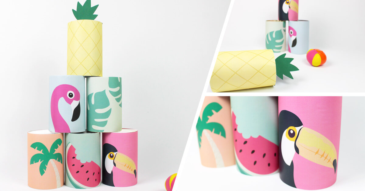 Easy and colourful summer coconut shy DIY