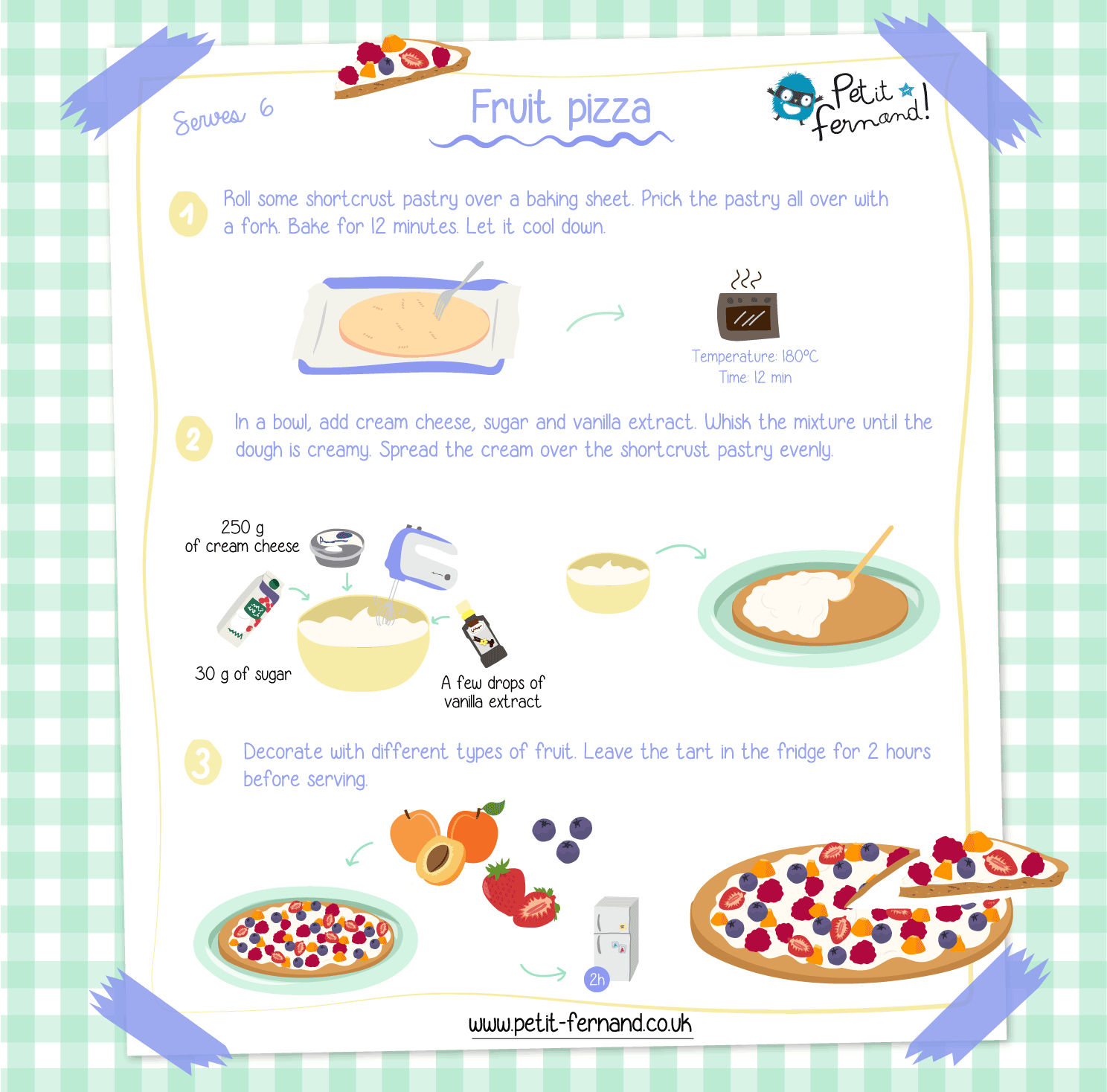 Follow the recipe to make a delicious fruit pizza, a modern version of the classic fruit tart