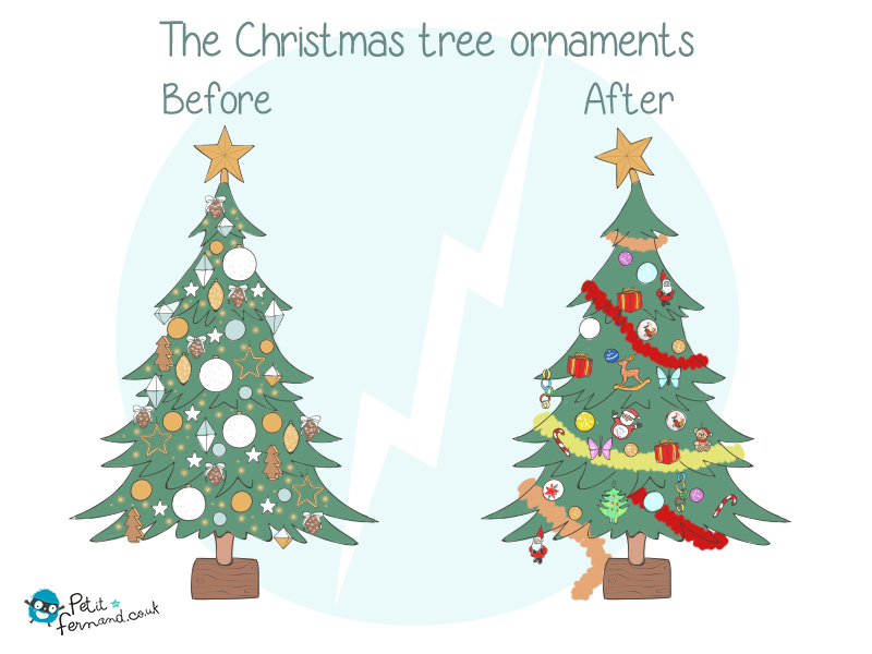 Decorating the Christmas tree before and after having children