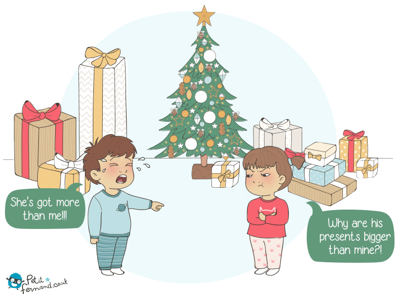 Kid's jealousy under the Christmas tree
