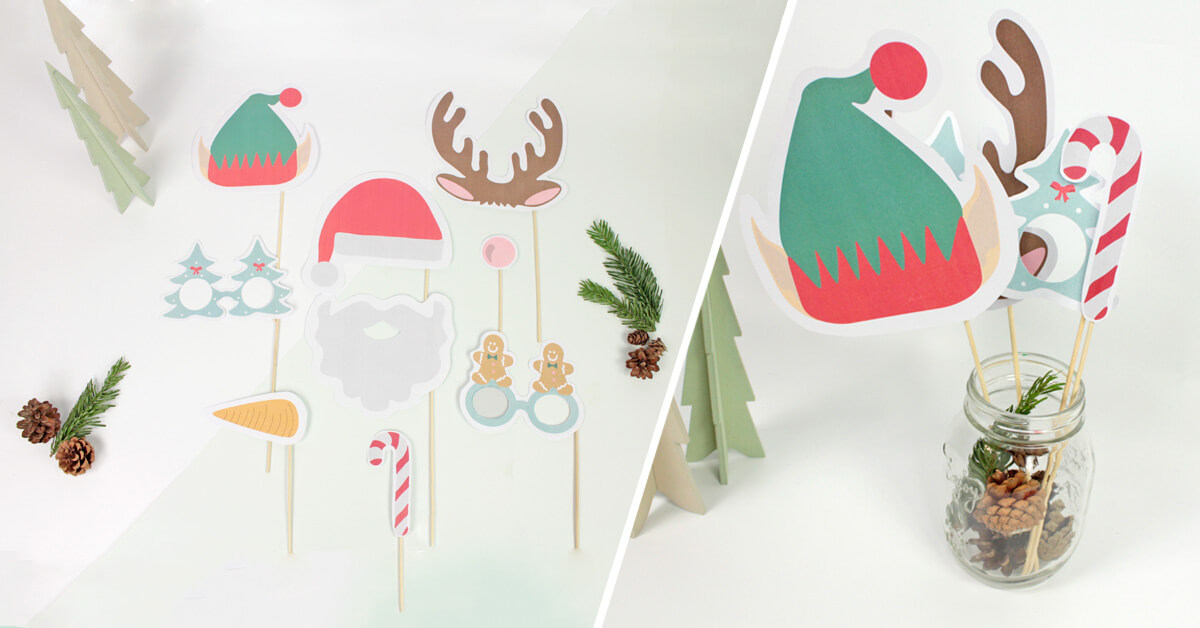 Fun and laughter guaranteed with our free printable Christmas photobooth set!