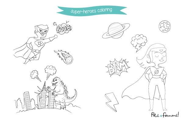 Discover our Super-heroes themed coloring pages!