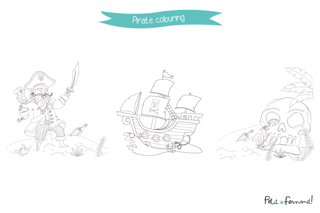 All aboard! Download for free the pirate themed coloring pages for your little sailors!