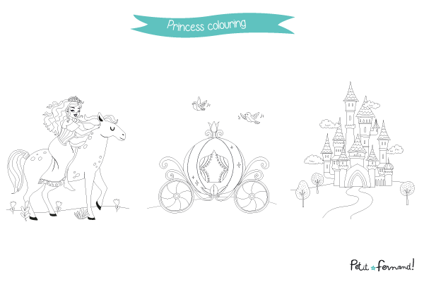 Download for free these pretty and royal coloring pages on the princesses theme to keep your kids busy!