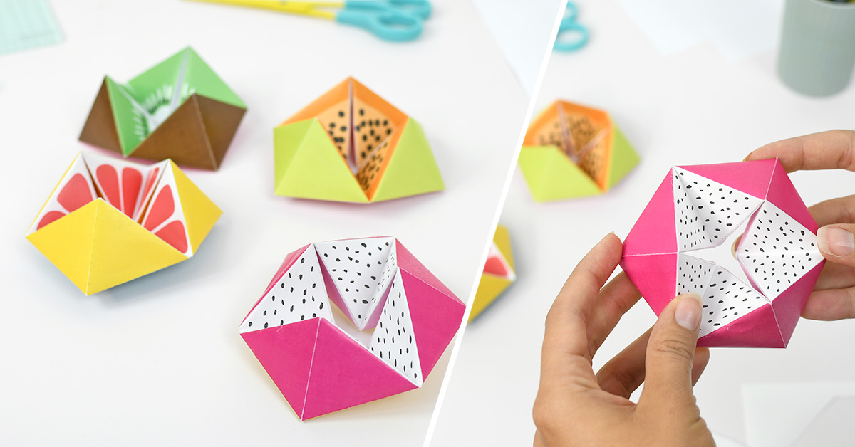 An amazing fruits flexagon, a funny papercraft to realise easily with your kids!