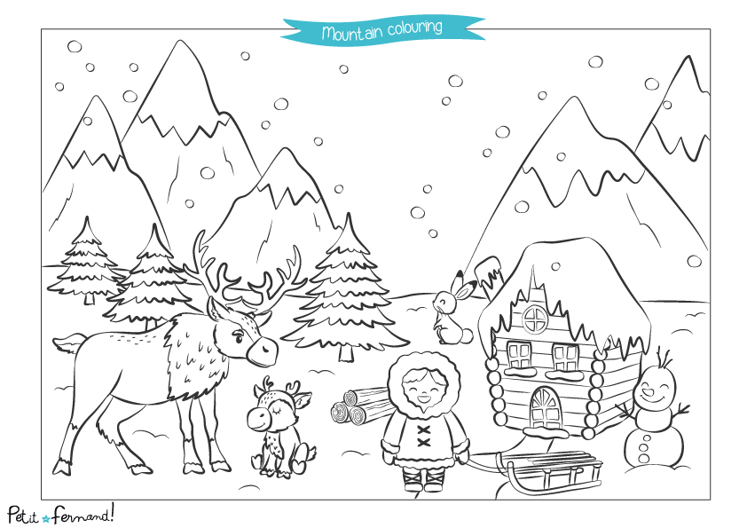 A beautiful landscape of snowy mountains full of adorable reinder, rabbits and snowman to color!