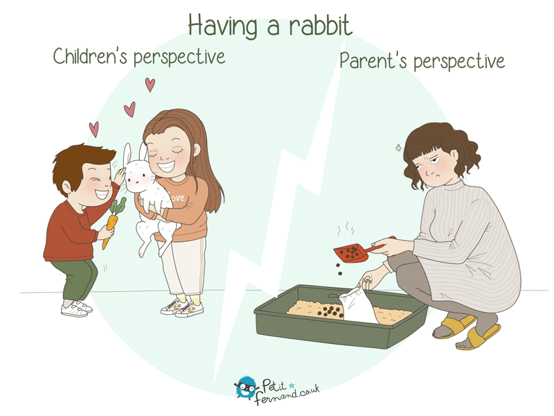 """Muuummmyy, daaadddyyy… Can we get a rabbit? Please, I promise I'll take care of it!"""