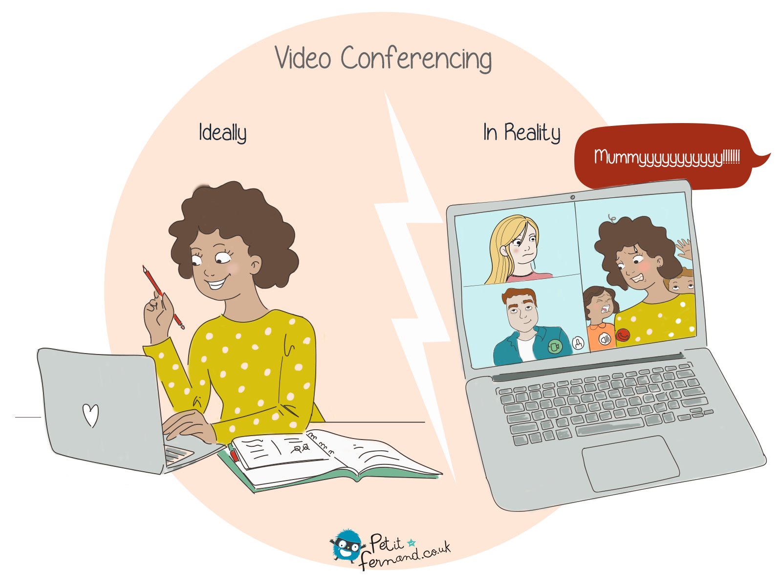 During confinement, we all experienced working from home and video conferences in the living room with our children