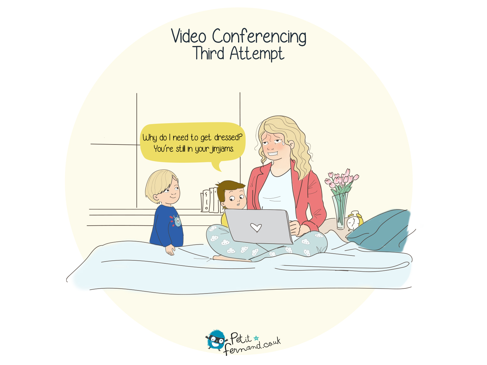 Video conferencing with kids : we tried the living room then the kitchen… now we're trying to bedroom